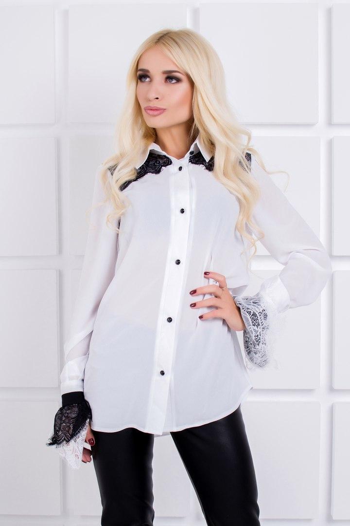 482f4491000 Стильная белая женская блуза с кружевом - IBERIS в Харькове