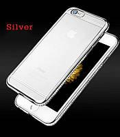 Прозрачный чехол с серебряными камнями Сваровски для Iphone 6/6S силикон