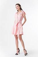 Розовое летнее платье с бантами