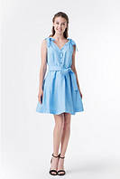 Голубое летнее платье с бантами