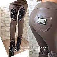 Нарядные кожаные женские лосины у-4SH244