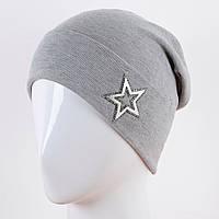 Трикотажная шапка украшенная звездой (много расцветок) z-12GO283
