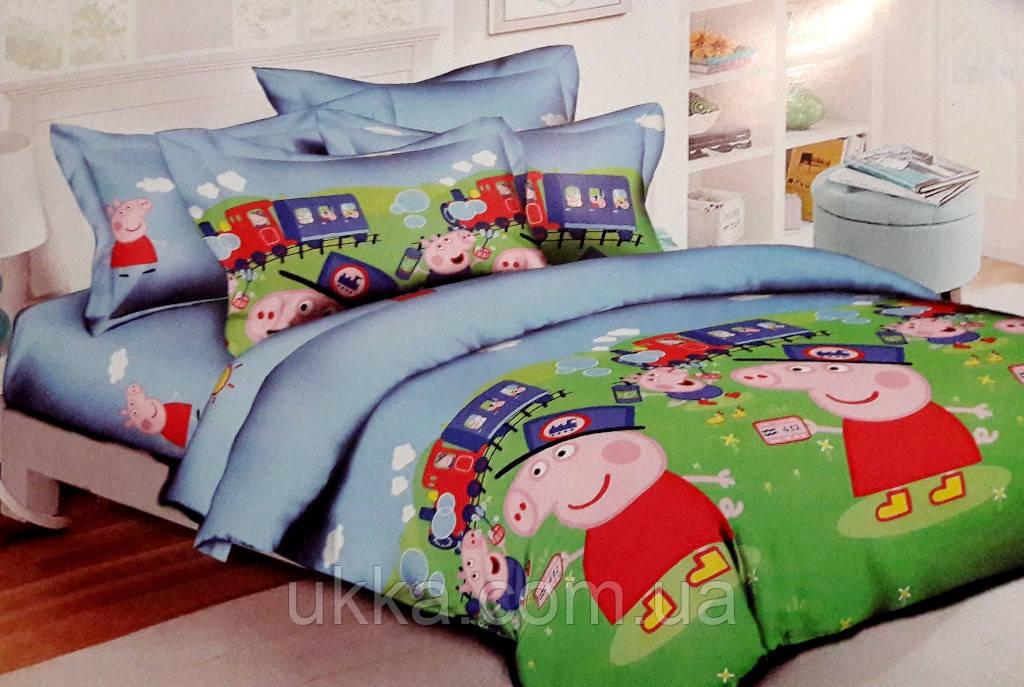 Детское постельное белье полуторное Свинка Пепа