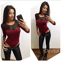 Молодежный женский боди с сеткой на груди в цветах i-24BO149