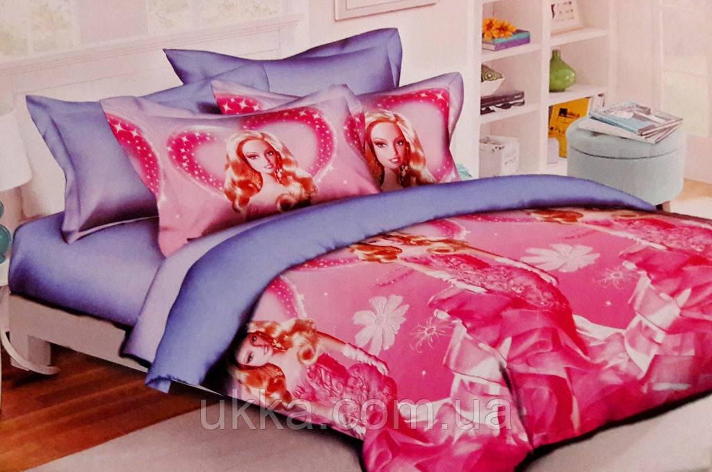 Детское постельное белье полуторное Барби
