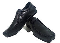 Мокасины мужские натуральная кожа черные на шнуровке Люкс
