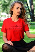 Красная женская футболка е-61FU409
