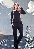 Модный женский черный комбинезон w-61KO612
