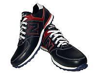 Кроссовки New Balance синие натуральная кожа на шнуровке