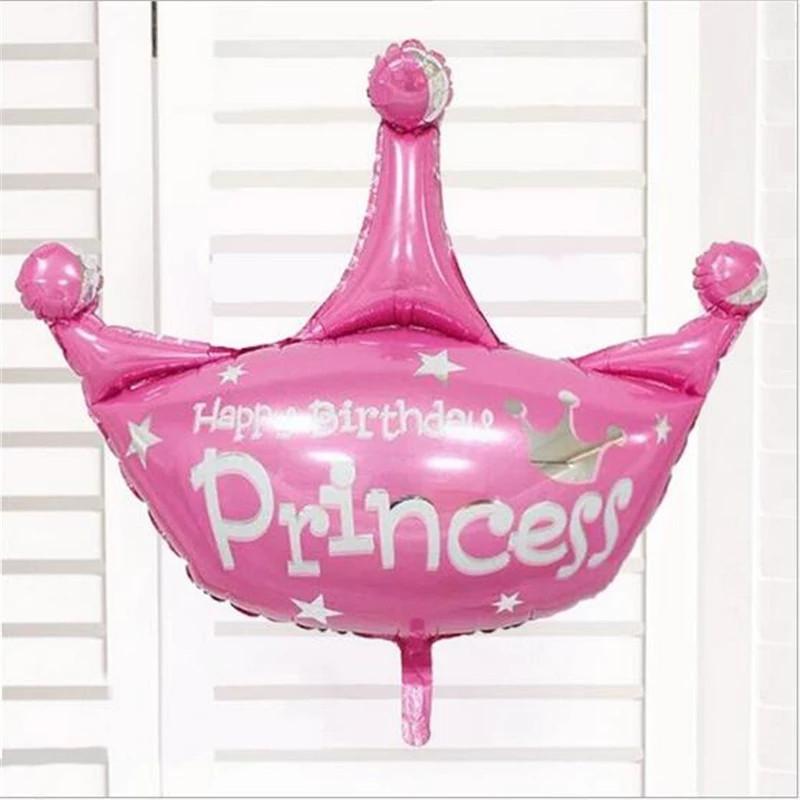 .Фольгированный воздушный шар Корона розовая 39 х 40 см.