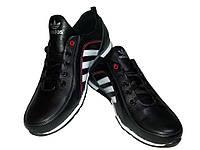Кроссовки ADIDAS черные натуральная кожа на шнуровке