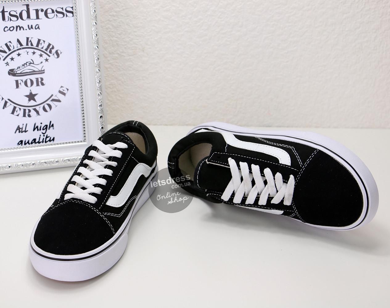 Женские кеды Vans Old Skool (black white)   Ванс Олд Скул черные с ... cdb3d83508e