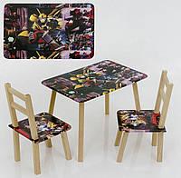Детский набор мебели для мальчика столик трансформер и 2 стула