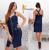 Женское джинсовое платье с открытыми плечами a-31PL2737