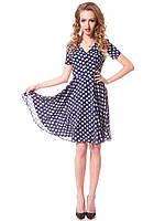 Воздушное платье из креп шифона синего цвета с цветочным принтом