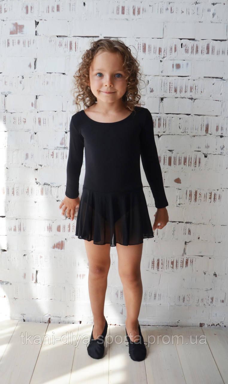 Купальник для танцев с юбкой из сетки черный