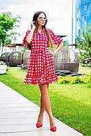 Свободное платье в горох на запах в цветах s-31PL66, фото 1
