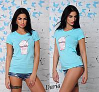 Женская модная летняя футболка с накаткой в цветах t551724-55FU24, фото 1