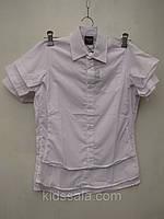 Рубашка белая для мальчиков с коротким рукавом