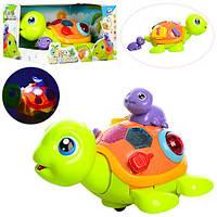 Черепаха 2088  21см, муз, свет, ездит, черепашка7см, на бат-ке, в кор-ке, 22,5-18-14см