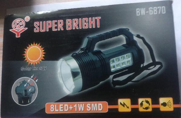 Ручной фонарик на солнечной батарее Super Bright BW-6870