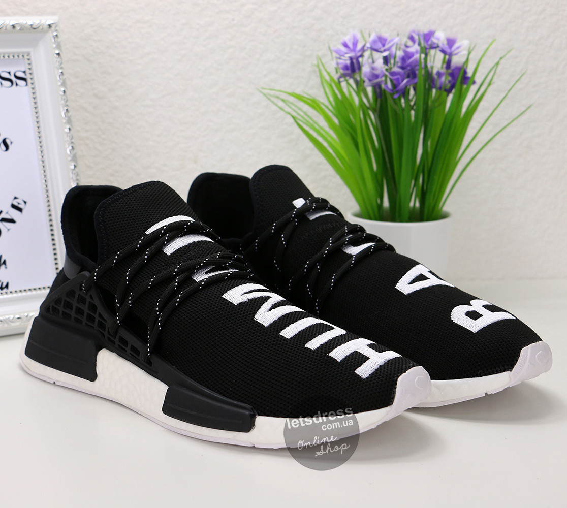 Кроссовки мужские Adidas Pharrell NMD HUMAN RACE Original black   Адидас  Фарель НМД Рейс черные - 1b74c4078cb