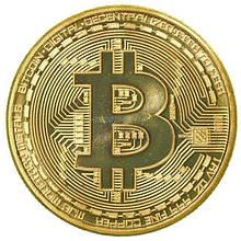 Сувенирная монета Биткоин с позолотой