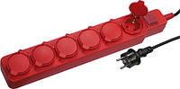 Мережевий фільтр-подовжувач e.es.p.6.5.z.s.IP44 тип p 6 гнізд 5м з з/к з вимикачем