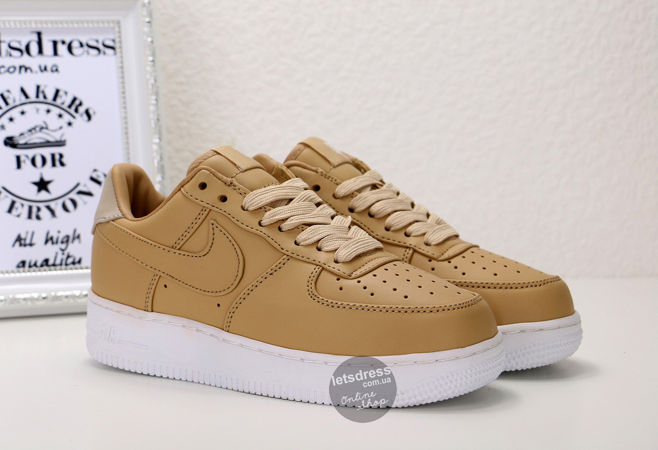 Кроссовки женские Nike Lab Air Force 1 Low Vachetta Tan/White | Найк Аир Форс 1 Лоу Вачета