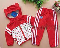 Спортивный костюм Adidas с ушками, красный (реплика)