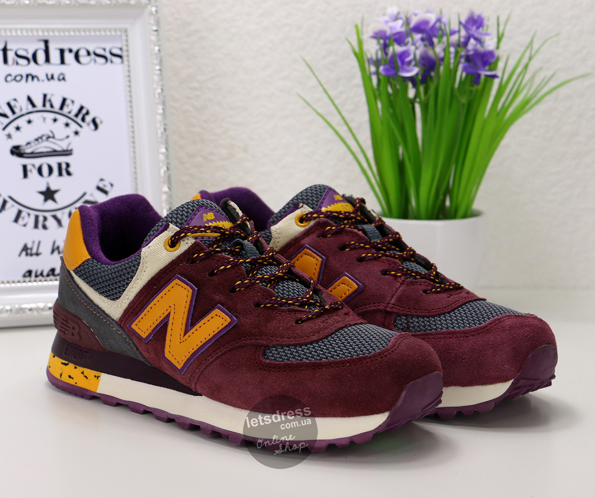 Кроссовки женские New Balance 574 PURPLE & ORANGE | Нью Баланс 547 пурпурные