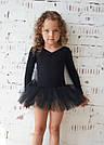 Купальник с юбкой в горошек для танцев, балета и хореографии черный, фото 2