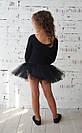 Купальник с юбкой в горошек для танцев, балета и хореографии черный, фото 3