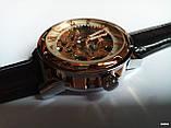 Наручные мужские часы Winner sceleton расцветка: белое с золотом, фото 5