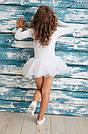 Купальник с юбкой в горошек для танцев, балета и хореографии белый, фото 2
