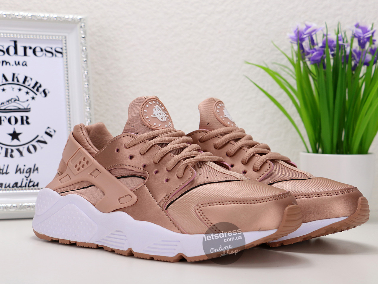 Кроссовки женские Nike Air Huarache Rose Gold | Найк Аир Хуарач розовые реплика 37 размер