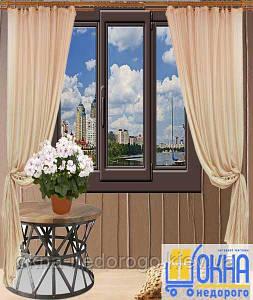 Трехстворчатые ламинированные внутри окна