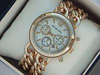Женские кварцевые наручные часы Michael Kors золото, на двух цепочках, белый циферблат, премиум, фото 1