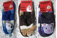 Теплые женские носки-тапочки FLUFFY SLIPPERS Коричневый универсальный