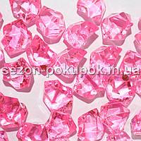 "(25шт) Кристаллы пластик 25х15мм (""Искусственный лед"") Цвет – ФЛАМИНГО"