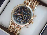 Женские кварцевые наручные часы копия Michael Kors золото, на двух цепочках, черный циферблат, премиум, фото 1