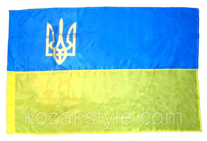 Прапор України нейлоновий з тризубом (135х90 см)