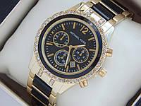 Женские кварцевые наручные часы Michael Kors золото, черные вставки, премиум качество, фото 1