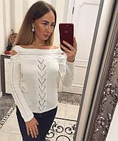 Женский вязаный свитер с голыми плечами (разные цвета)