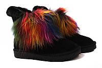 Угги женские Li Fexpert эко-замш, цвет черный, цветной мех (сапоги, мех, зима, платформа)