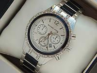 Женские кварцевые наручные часы копия Michael Kors серебро, черные вставки, премиум качество, фото 1
