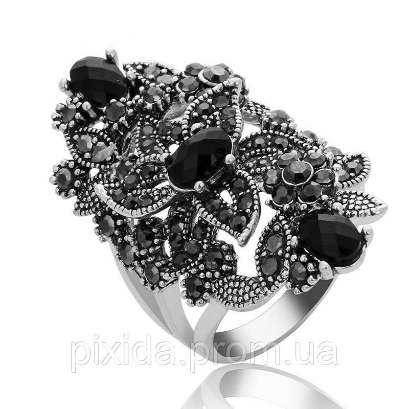 Кольцо Чаровница черные кристаллы  Винтаж
