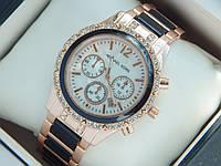 Женские кварцевые наручные часы Michael Kors со стразами и черными вставками на ремешке