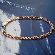 Серебряный позолоченный браслет, 205мм, 5,9 грамма, плетение  Бисмарк, фото 3