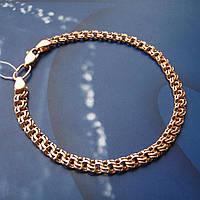 Серебряный позолоченный браслет, 190мм, 6,4 грамма, плетение  Бисмарк